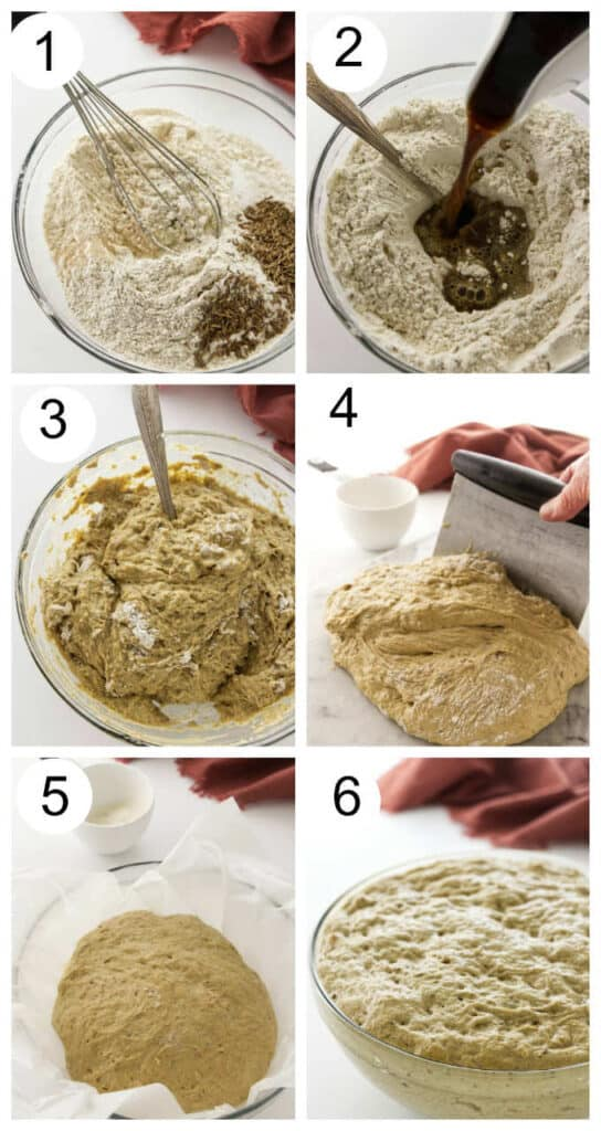 Collage photos showing how to make no-knead rye bread.