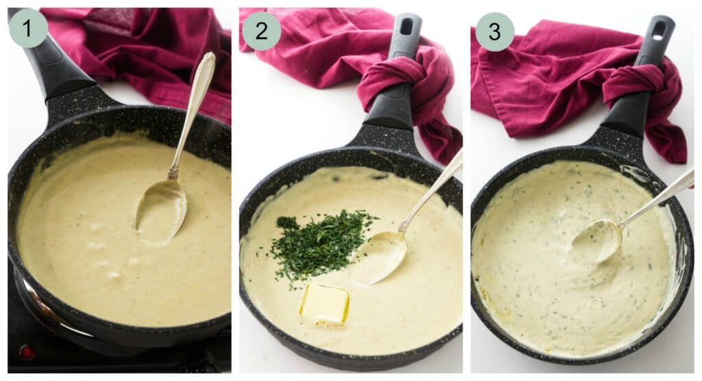 process steps showing how to make creamy tarragon sauce.