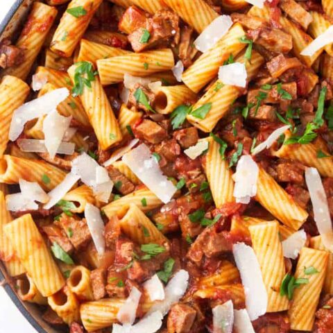 An overhead photo of beef pasta skillet made with leftover beef.