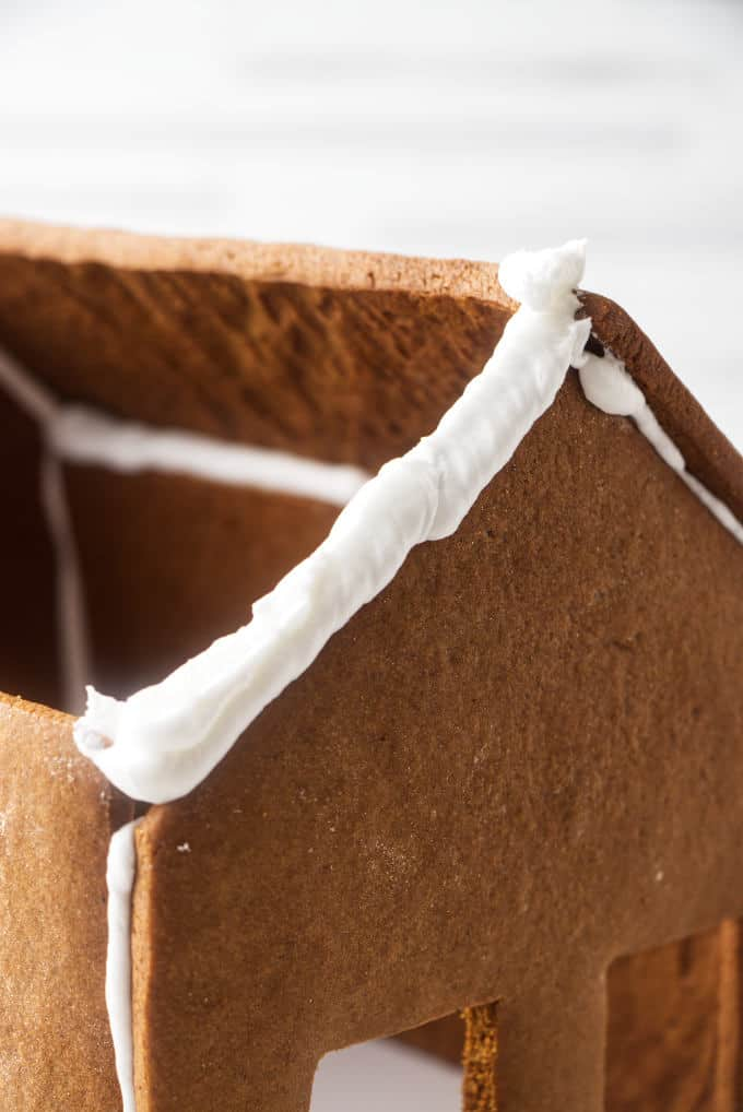 Royal icing piped on a gingerbread house