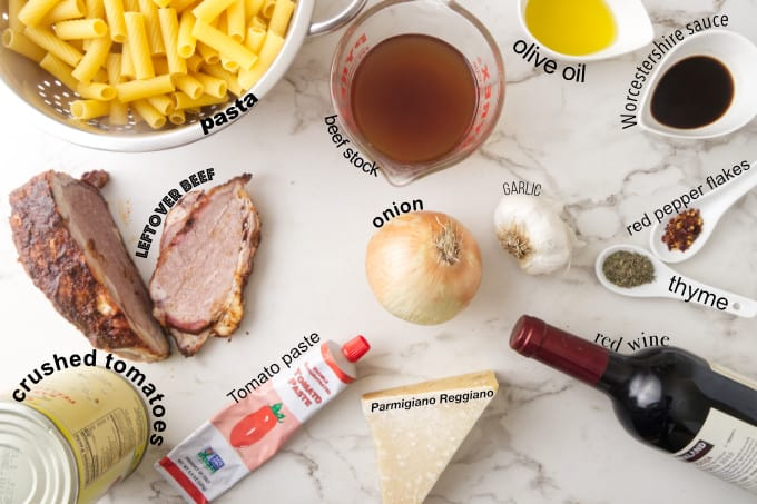 Ingredients needed for beef pasta skillet.