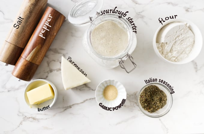 Ingredients used for sourdough crackers with parmesan cheese