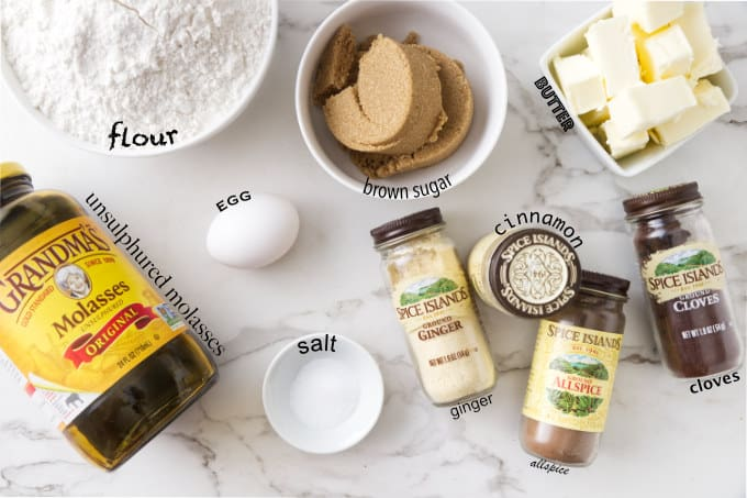 Ingredients needed to make a gingerbread house recipe.