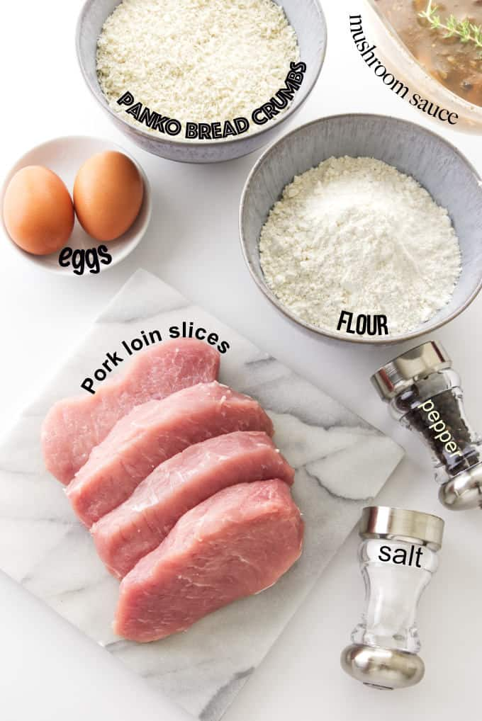 ingredients used for making Jaeger Schnitzel and mushroom sauce