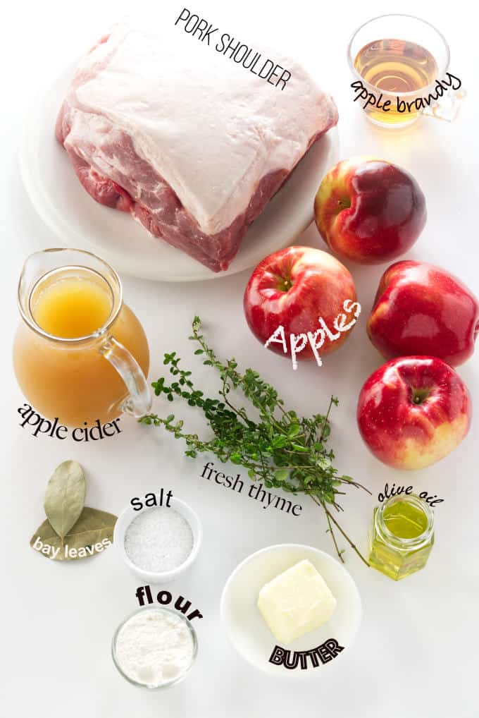 ingredients used to make pork roast with apples.