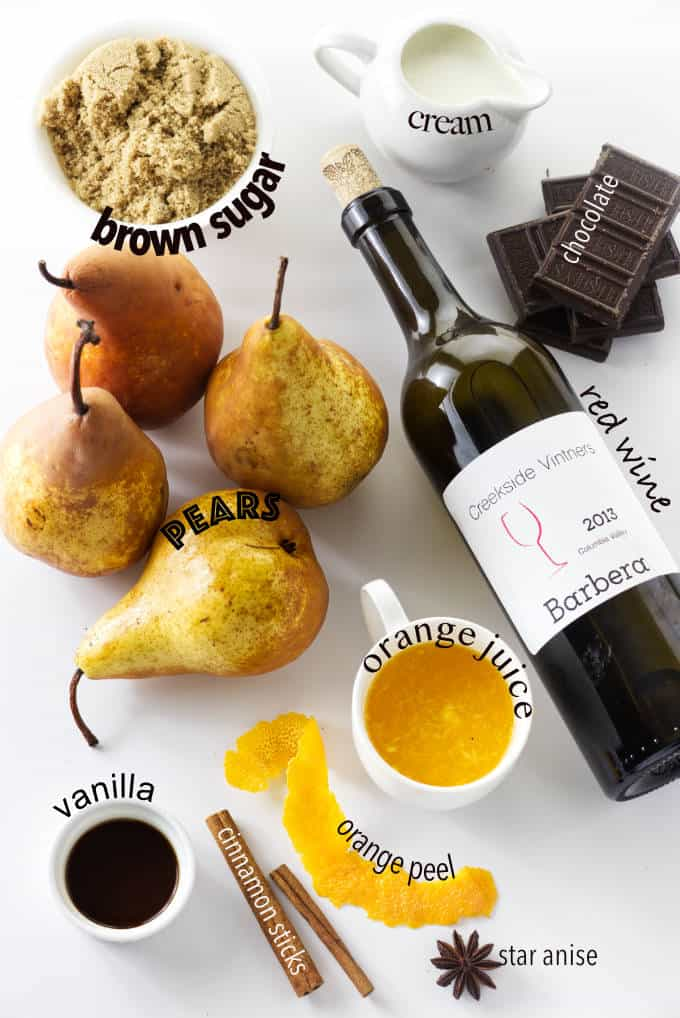 All the ingredients used to make red wine poached pears with chocolate sauce.