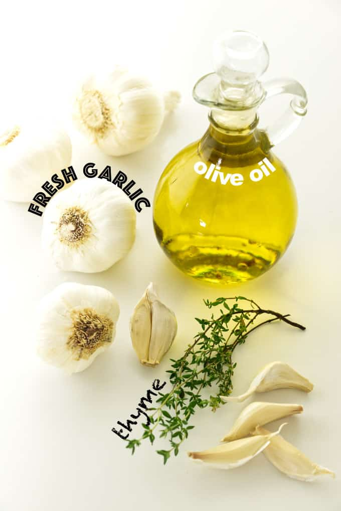 ingredients used for roasted garlic spread