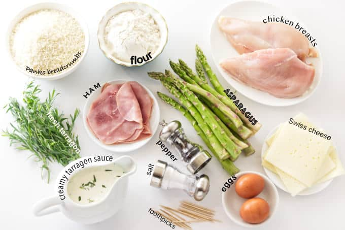 ingredients used to make chicken cordon bleu with asparagus stuffing.