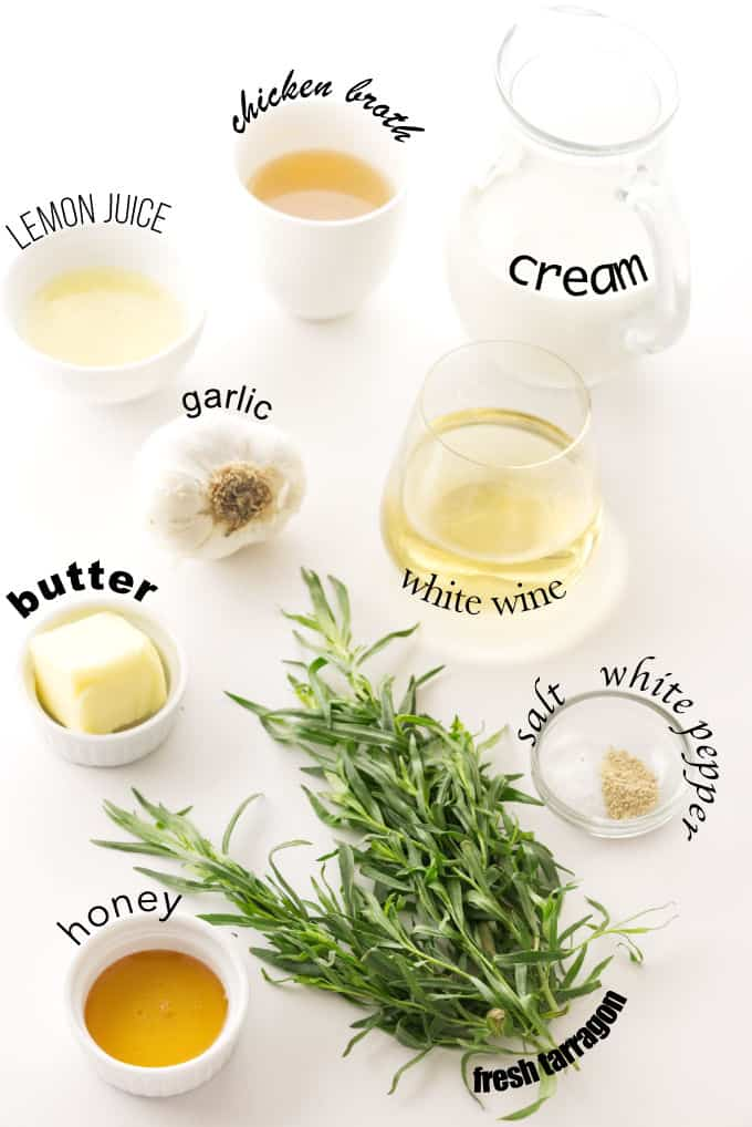 Ingredients used for making creamy tarragon sauce.