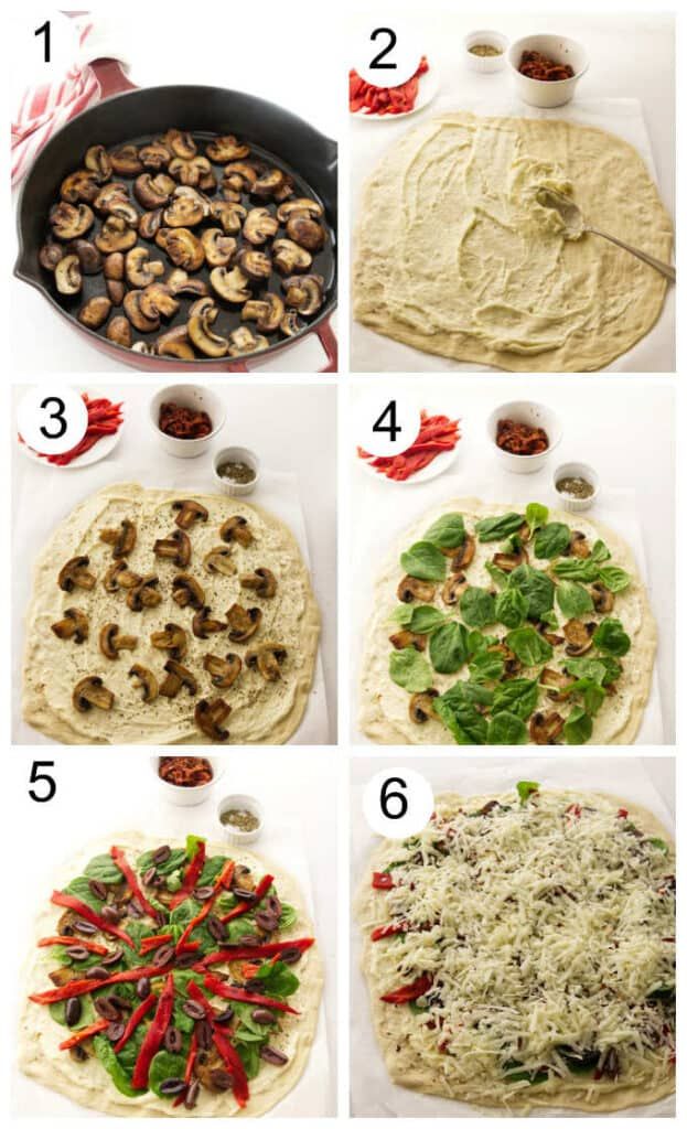 Photo collage showing how to make mushroom pizza with garlic sauce.