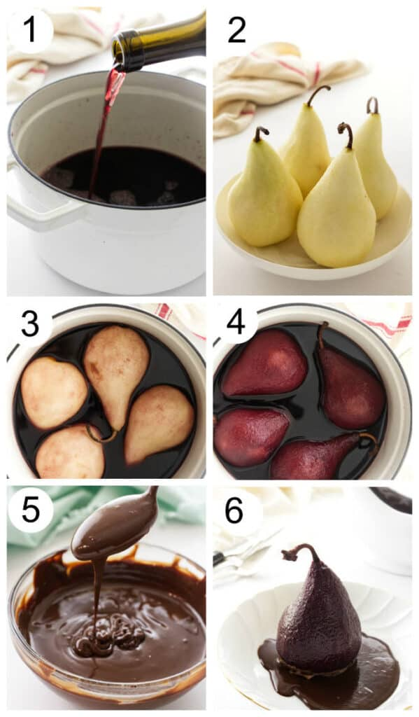 process photos showing the steps to make red wine poached pears