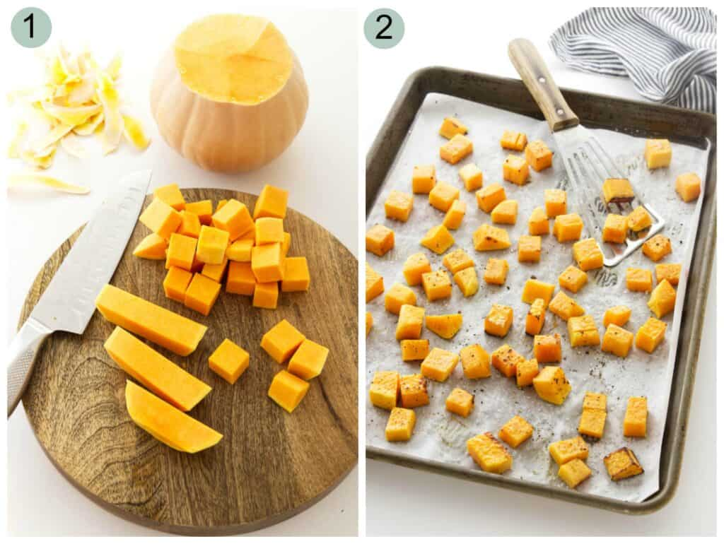 Two photos showing how to prep butternut squash for a salad