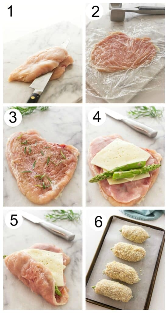 Photos showing how to make chicken cordon bleu with asparagus.