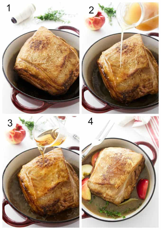 Process steps showing how to prepare a pork roast with apples.