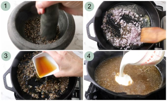 collage of photos showing how to make peppercorn steak sauce.