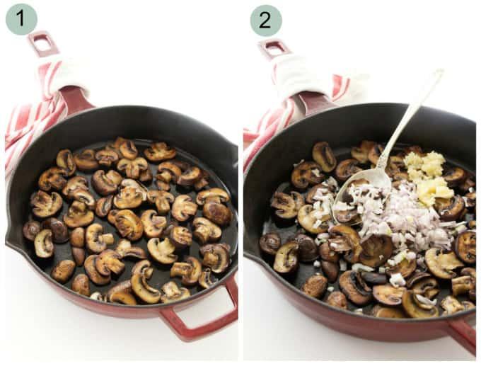Process for making white wine mushroom sauce.