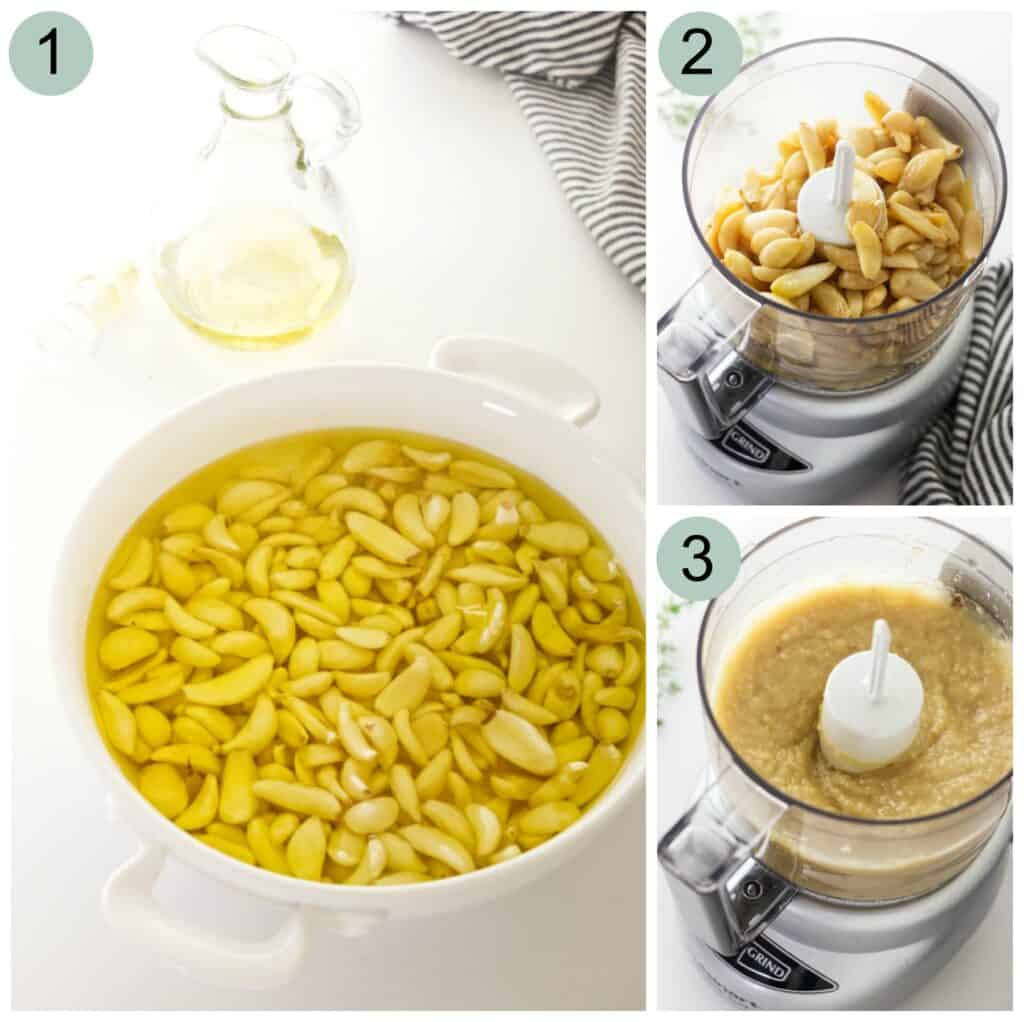 process steps for making roasted garlic spread