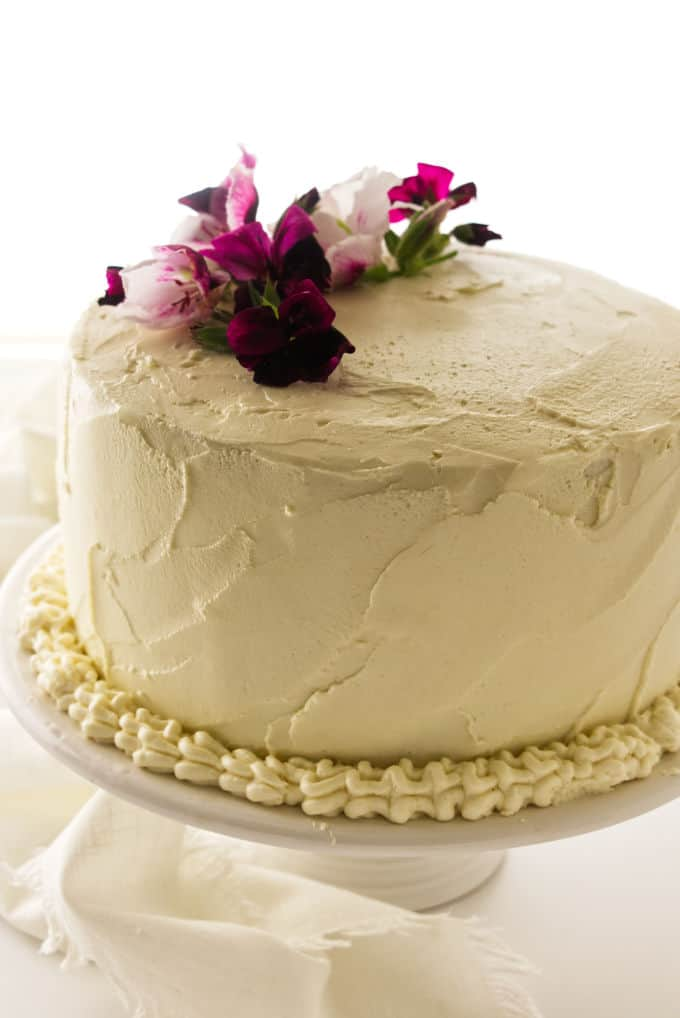 Layer cake covered with Ermine Frosting