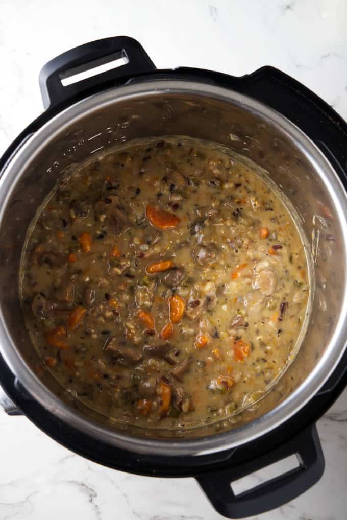 Hot wild rice and mushroom soup in an Instant Pot.