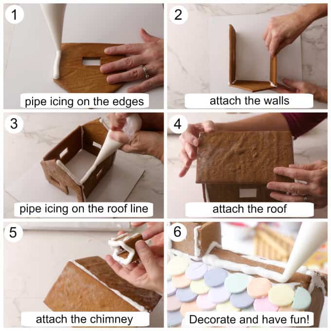 Collage of photos showing how to construct the gingerbread house and decorate it with candy.