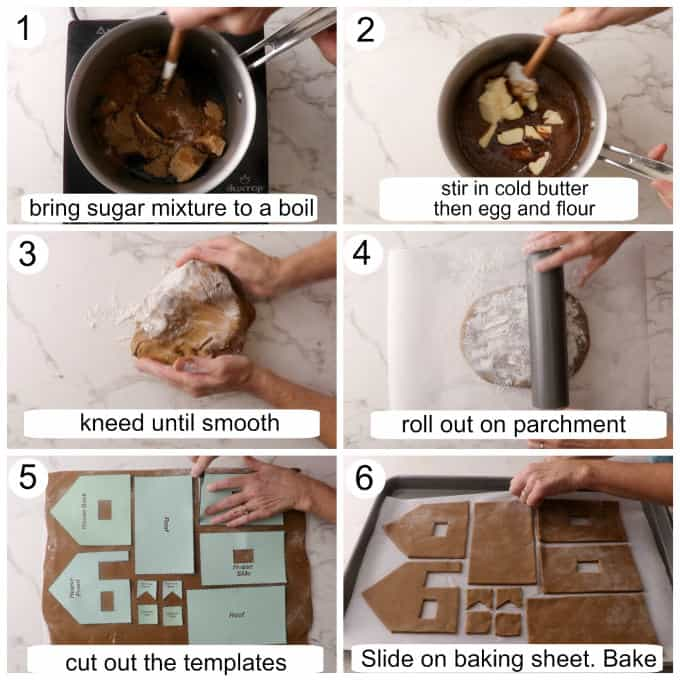 Process photos showing how to make the gingerbread dough and cut the gingerbread house pieces.