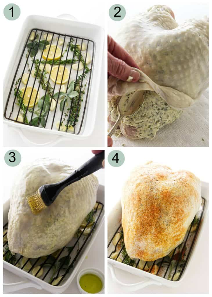 Four photos showing how to make a roasted turkey breast with garlic herb butter.