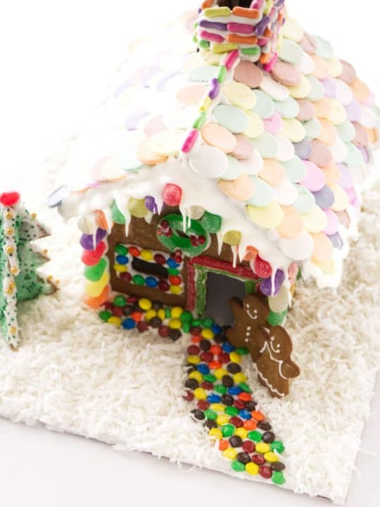 A decorated gingerbread house with a candy path to the door.