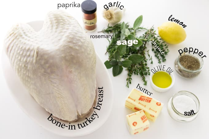 Ingredients used to make a roasted turkey breast.