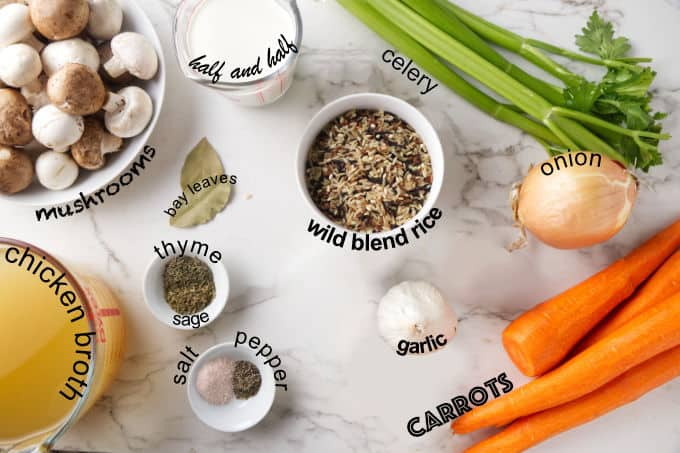 Ingredients needed for Instant Pot wild rice and mushroom soup.