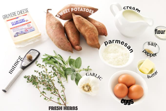 Ingredients needed for scalloped sweet potato casserole.