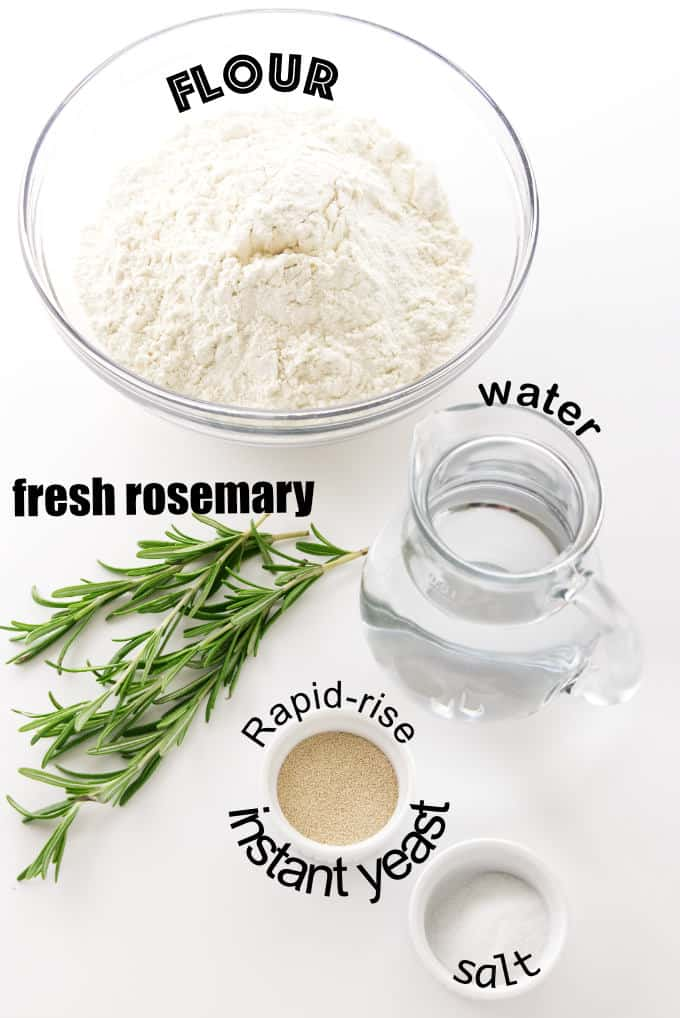 Ingredients needed for no knead rosemary bread.