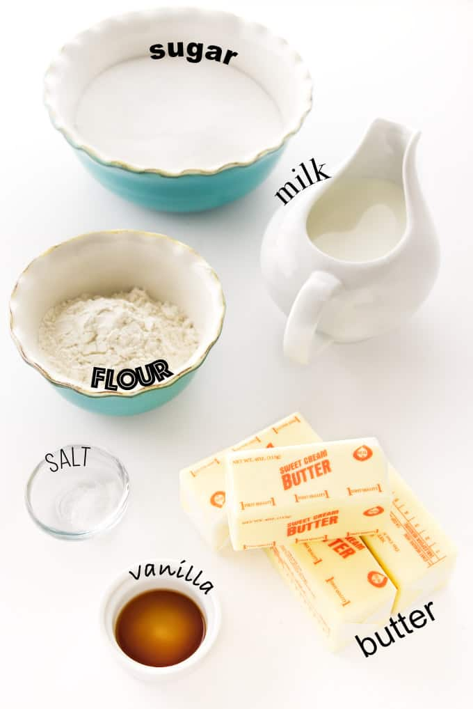 Ingredients needed for cooked flour ermine frosting.