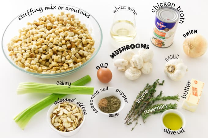 Ingredients needed to make mushroom stuffing with stuffing mix or croutons.
