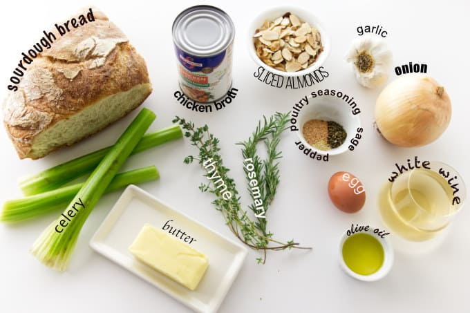 Ingredients used for making sourdough stuffing recipe.