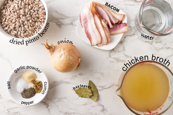 Ingredients used to make Instant Pot pinto beans.