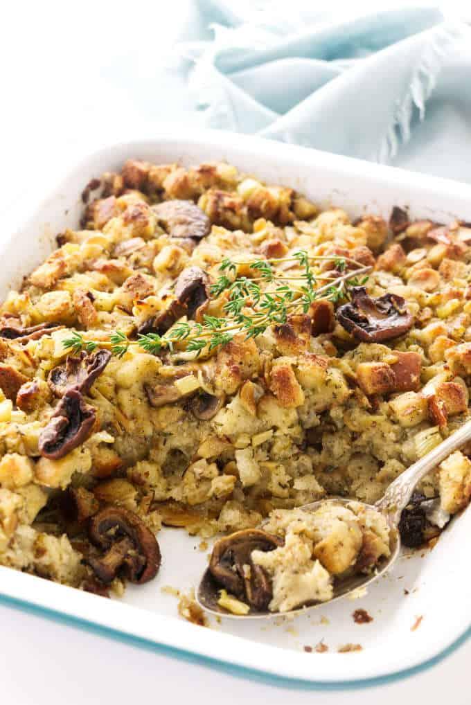 Mushroom stuffing in a casserole dish.