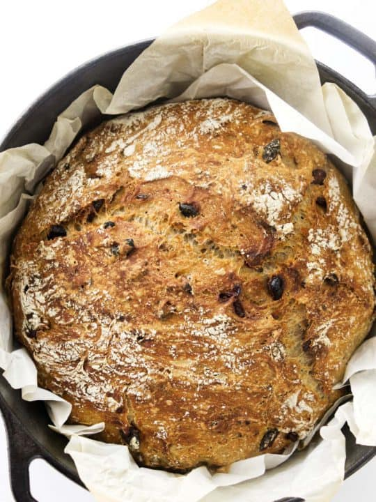Overhead view of bread in a Dutch oven