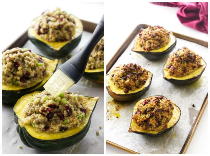 Process photos showing the final steps in making sausage stuffed acorn squash.