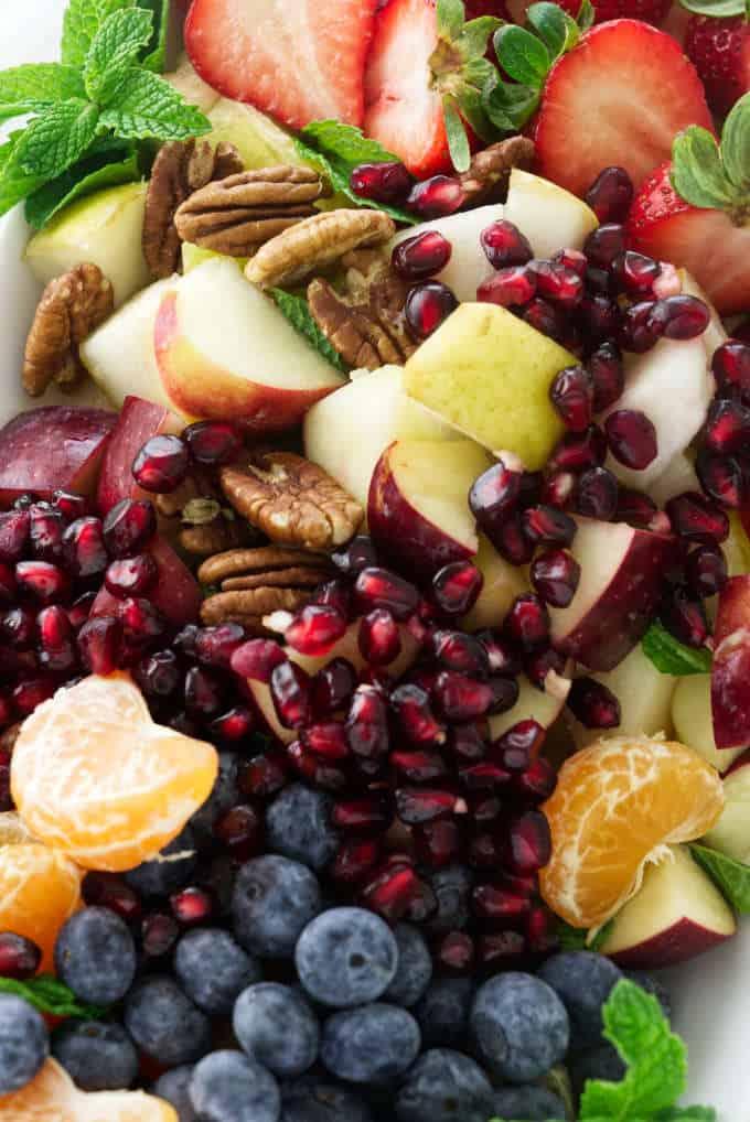 Close up view of winter fruit salad