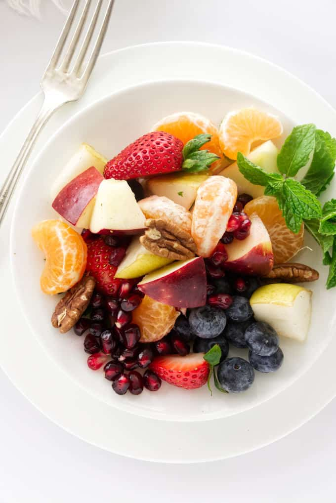 Overview of a serving of fruit salad
