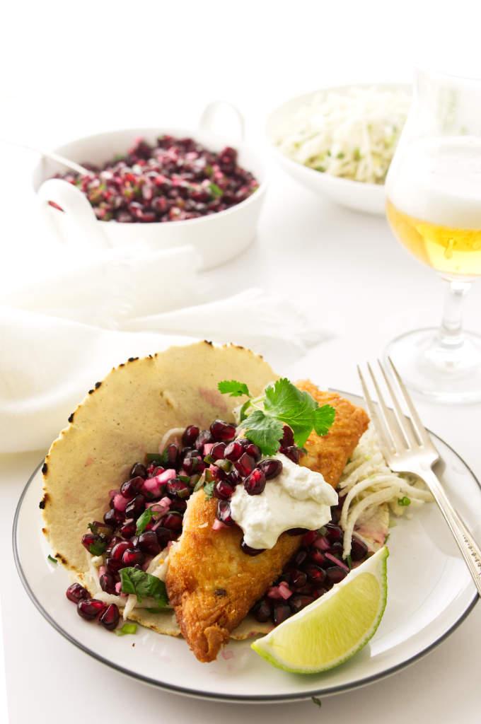 Firsh Tacos with Pomegranate Salsa and Jicama Slaw