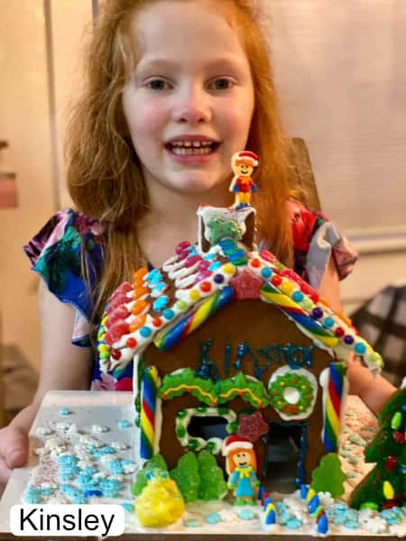 Gingerbread house decorated by 5 year old Kinsley