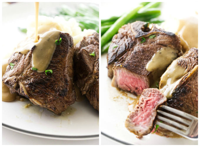 2 close up photos of pan seared lamb chops