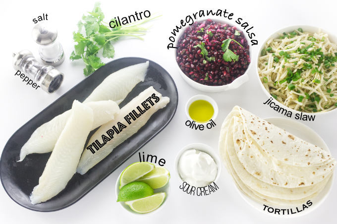 Ingredients for Pomegranate Fish Tacos
