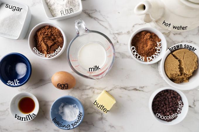 Ingredients needed to make Instant Pot hot fudge cake.
