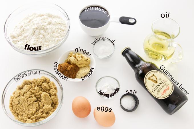 Ingredients to make Stout Gingerbread Cake
