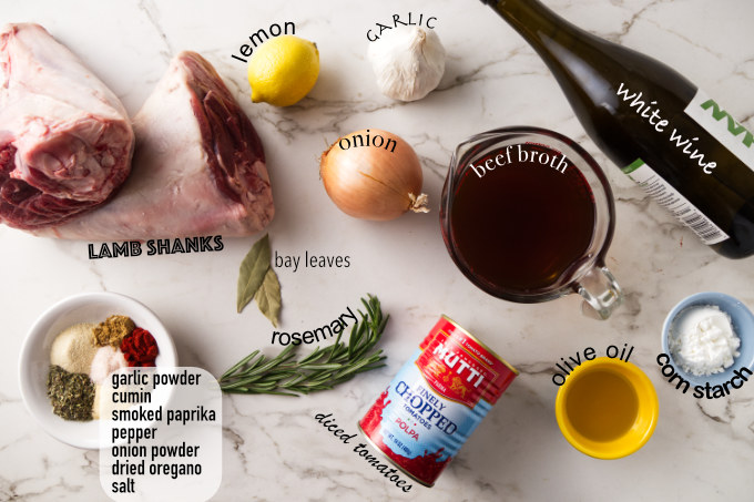 ingredients needed for Instant Pot lamb shanks.