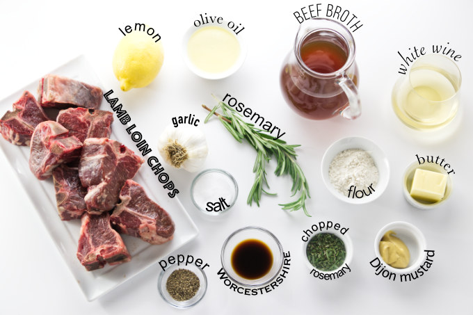 ingredients needed for pan seared lamb chops with gravy