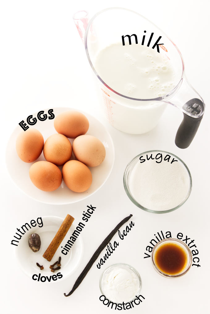 Ingredients for non-alcoholic eggnog