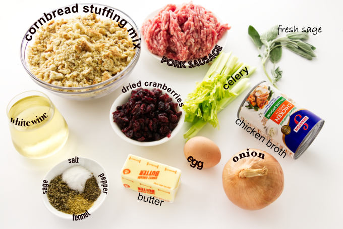 Ingredients for cornbread sausage stuffing